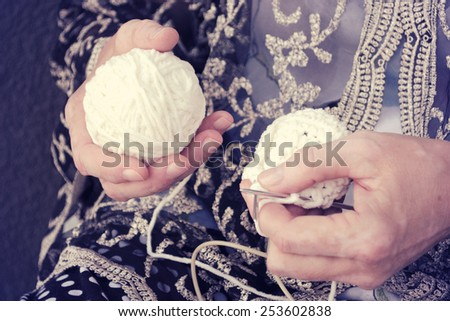 woman with her crochet  - stock photo
