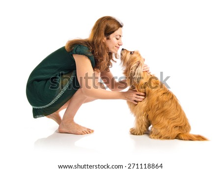 Woman with her dog - stock photo
