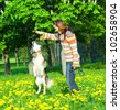woman with her dog on meadow - stock photo