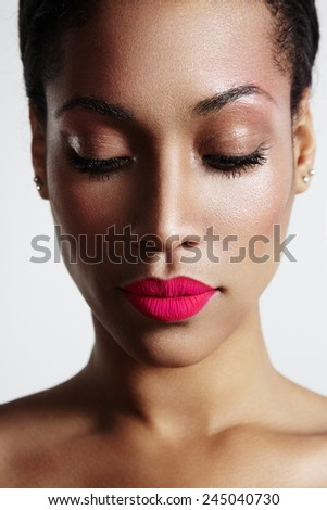 woman with ideal skin and bright mate lips - stock photo