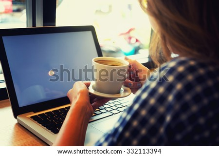 Woman with laptop and cup. Vacations concept., Vacations concept. - stock photo