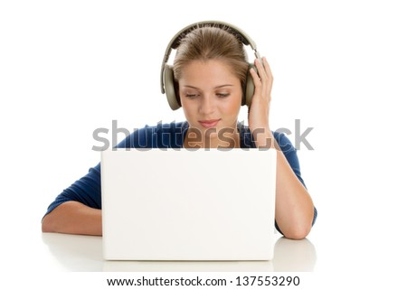 Woman with laptop computer - stock photo