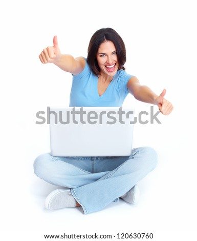 Woman with laptop computer sitting on the floor. Isolated on white. - stock photo
