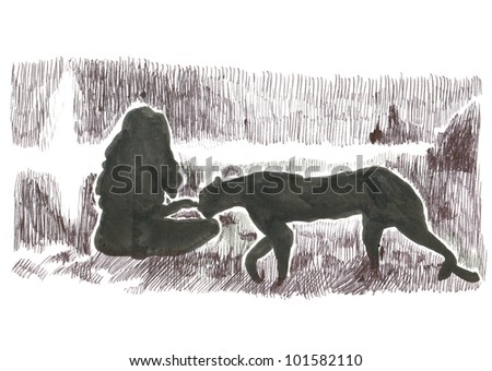 WOMAN WITH LEOPARD. Picture on the classic comix theme. (Original cartoon figure - drawn with black marker.) - stock photo