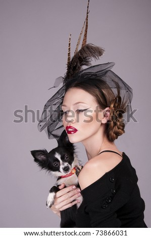 woman with little dog