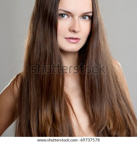 woman with long beauty hair - stock photo