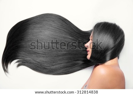 woman with long black hair - stock photo