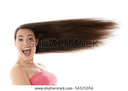 Woman with long hair isolated on white background - stock photo