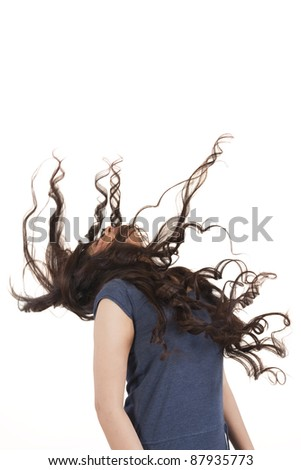 woman with long hair, isolated on white, curly hair - stock photo