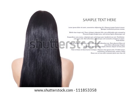 Woman with  long  healthy straight brown hair isolated on white - stock photo
