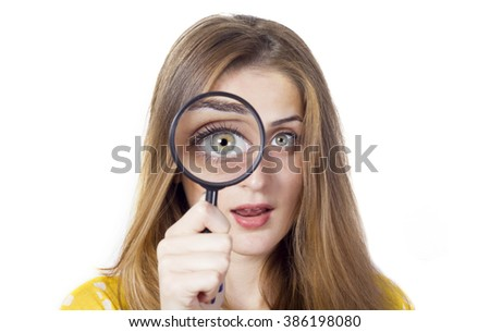 woman with magnifying glass isolated on a white background
