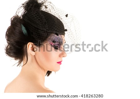 woman with makeup, profile face with veil