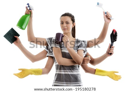 woman with many arms getting ready to do a spring clean - stock photo