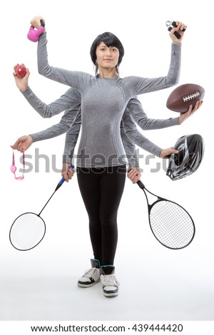 woman with many arms holding different sport objects in each hand