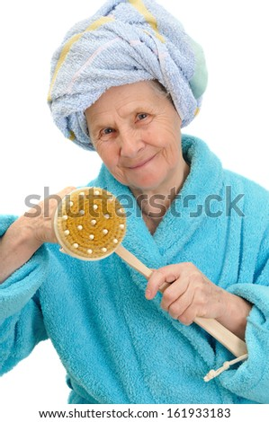 woman with massage sponge on white background