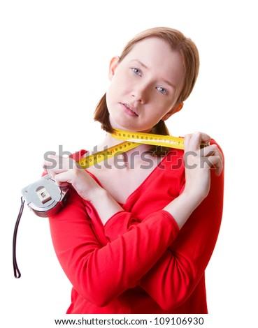Woman with measure tape around her neck, isolated on white - stock photo