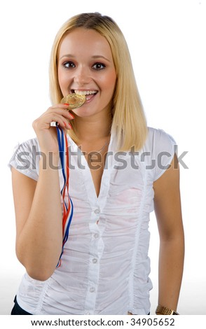 woman with medal - stock photo