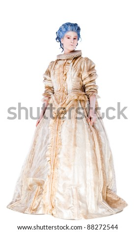 Woman with medieval dress standing and looking at camera, isolated on white
