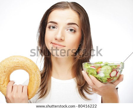 woman with milk and round loaf - stock photo