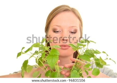 woman with mint - stock photo