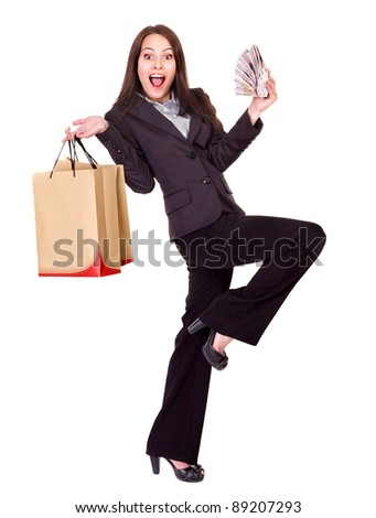 Woman with  money .Russian rouble and shopping bag. Isolated. - stock photo