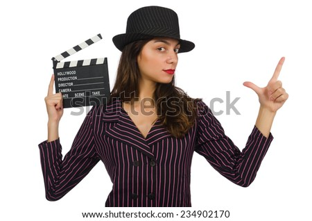 Woman with movie clapboard isolated on the white - stock photo