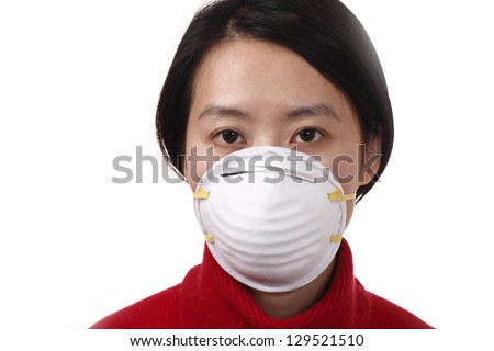 Woman with N95 mask, isolated on white