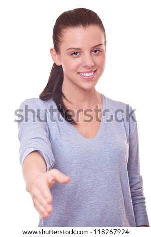woman with open hand ready for handshake on white background - stock photo