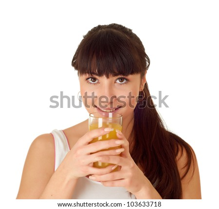 Woman with orange juice. Isolated over white.