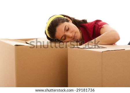 woman with packages for house moving (isolated on white)