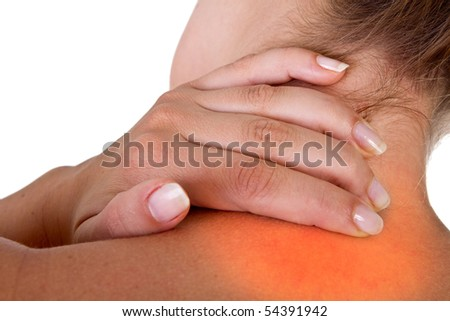 Woman with pain in her neck and shoulder, Isolated medical shot over white background. Red area symbolizes pain. - stock photo