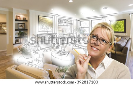Woman With Pencil Over Living Room Design Drawing and Photo Combination. - stock photo