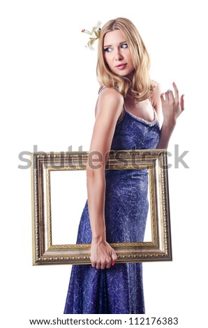 Woman with picture frames on white
