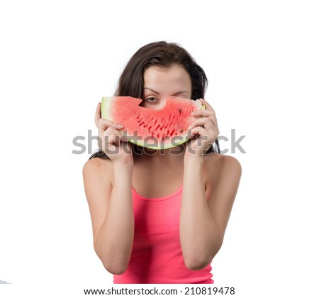 Woman with piece of watermelon, isolated on white background - stock photo