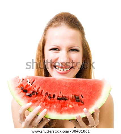 Woman with piece of watermelon laughing and look at camera isolate on white - stock photo