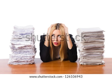 Woman pile papers stock photo 126106943 shutterstock woman with pile of papers publicscrutiny Images