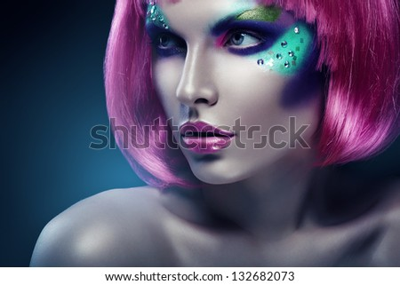 woman with pink hair and pink lips