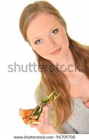 woman with pizza - stock photo