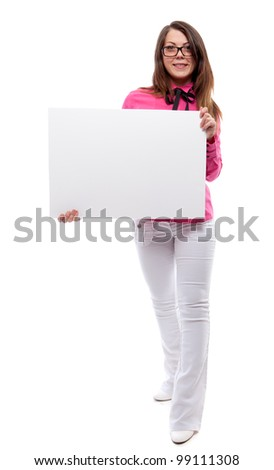 Woman with poster. Isolated over white. - stock photo