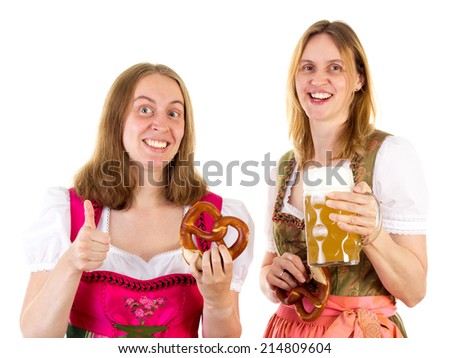 Woman with pretzel showing thumb up - stock photo
