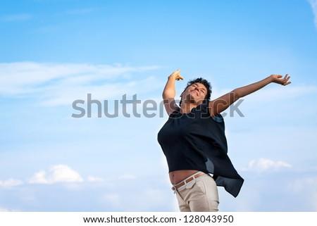 Woman with pure joy feeling - stock photo
