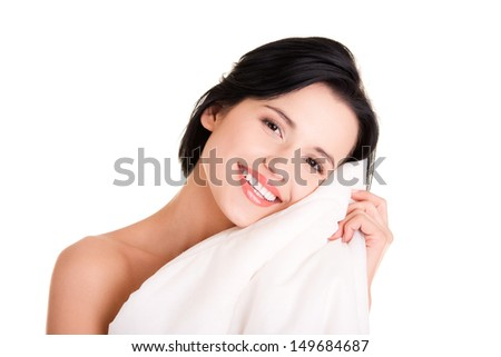 Woman with quilt, isolated on white