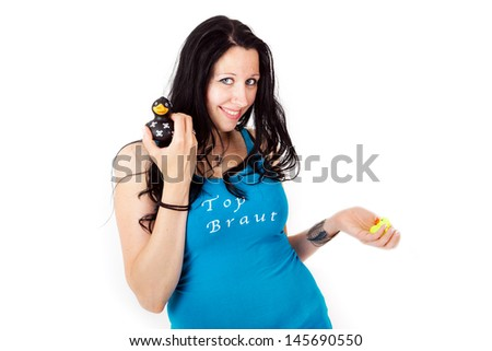 Woman with quitscheente - stock photo