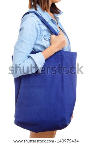 Woman with recycle bag