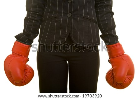 Woman with red boxing gloves - stock photo