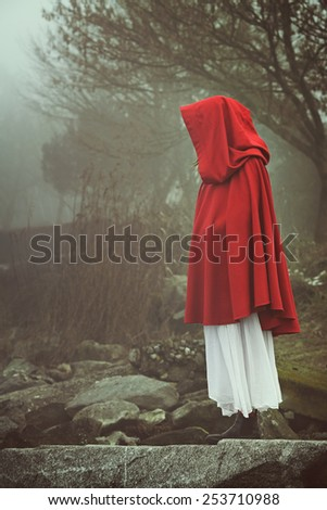 Woman with red cape in a misty landscape . Sadness and surreal concept   - stock photo
