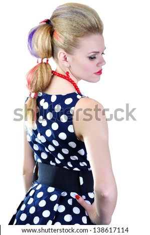 Woman with red chaplet on a white background - stock photo