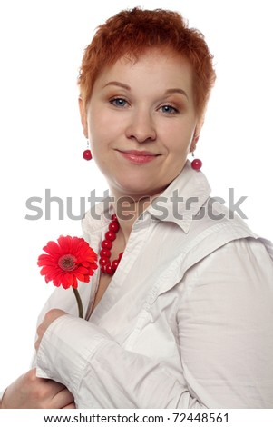 Woman with red flower isolated on white