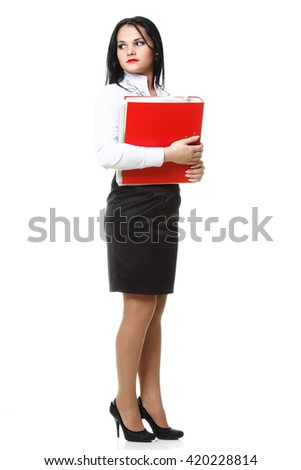 woman with red folder for documents on white background