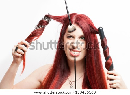 Woman with red hair having trouble with hair stylist in a beauty salon. Conceptual photo on white background